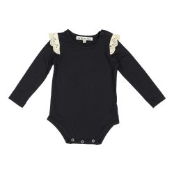 Black lace shoulder onesie