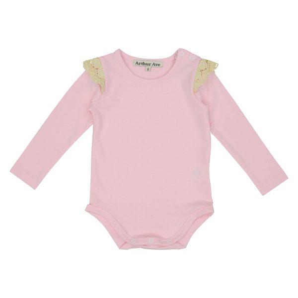 Pink shoulder lace onesie