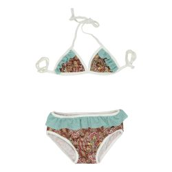 Red paisley and aqua mini bikini