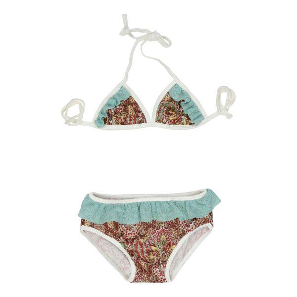 Red paisley and aqua mini bikini
