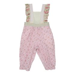 pink lace long overalls