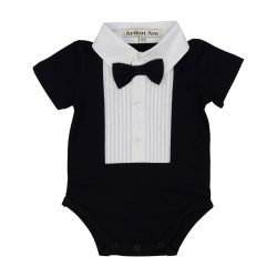 Black formal onesie, short sleeve