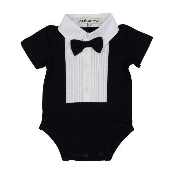 Black formal onesie, short sleeve