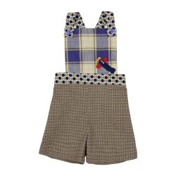 Brown check overalls