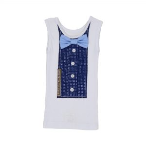 Soft blue bowtie vest top