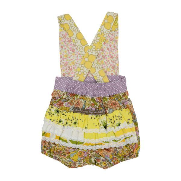 Vintage spring floral overalls back