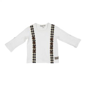 brown braces 3 quarter sleeve top