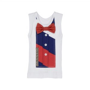 red and navy stripe bowtie top