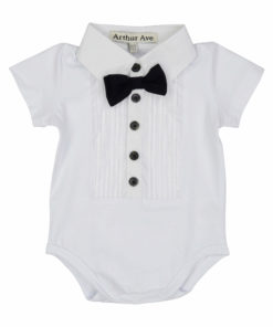 white formal onesie short sleeve