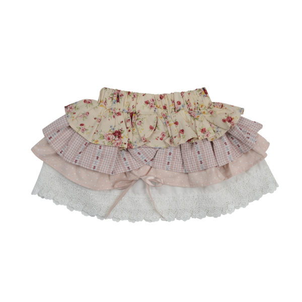 Nude Floral Layered Skirt