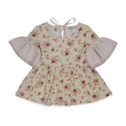 Nude Floral Peasent Top