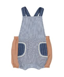Denim Stripes Pocket Overalls